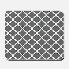 Grey White Quatrefoil Pattern Mousepad
