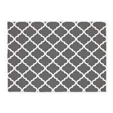 Grey White Quatrefoil Pattern 5'x7'Area Rug