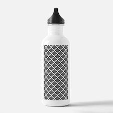 Grey White Quatrefoil Water Bottle