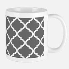 Grey White Quatrefoil Pattern Mug