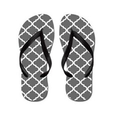 Grey White Quatrefoil Pattern Flip Flops