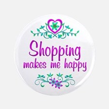 """Shopping Happy 3.5"""" Button (100 pack)"""