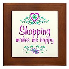 Shopping Happy Framed Tile