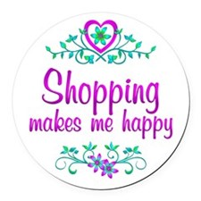 Shopping Happy Round Car Magnet