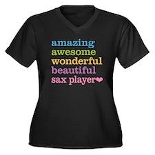 Sax Player Women's Plus Size V-Neck Dark T-Shirt
