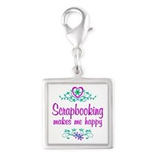 Scrapbooking Happy Silver Square Charm