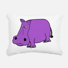 Purple Hippo Rectangular Canvas Pillow