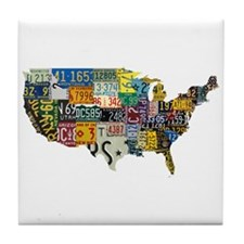 america license Tile Coaster