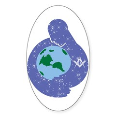 The Freemason embracing the earth Oval Decal