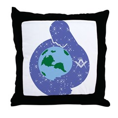 The Freemason embracing the earth Throw Pillow