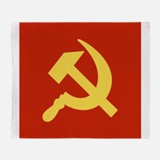 Red Hammer & Sickle Throw Blanket