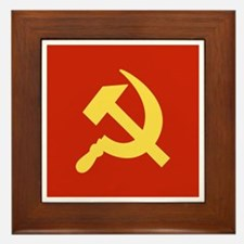 Red Hammer & Sickle Framed Tile