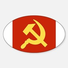 Red Hammer & Sickle Sticker (Oval)
