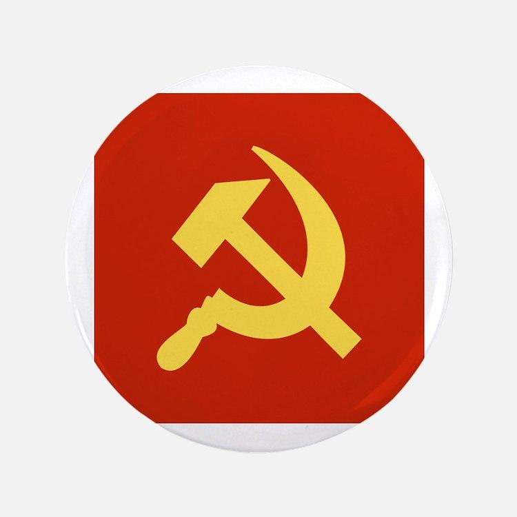 """Red Hammer & Sickle 3.5"""" Button"""