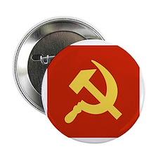 """Red Hammer & Sickle 2.25"""" Button"""