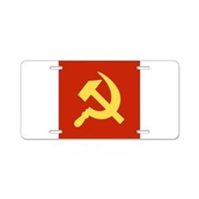 Red Hammer & Sickle Aluminum License Plate