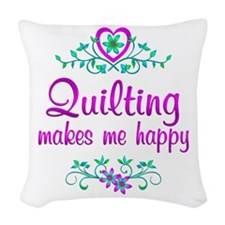 Quilting Happy Woven Throw Pillow
