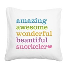 Awesome Snorkeler Square Canvas Pillow