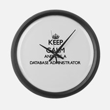 Keep calm and kiss a Database Adm Large Wall Clock