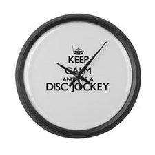 Keep calm and kiss a Disc Jockey Large Wall Clock