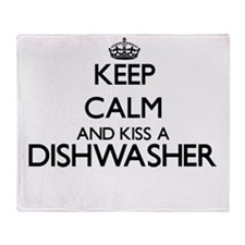 Keep calm and kiss a Dishwasher Throw Blanket