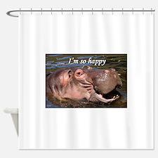 I'm so happy: hippo Shower Curtain