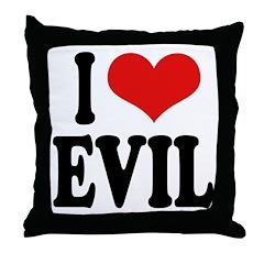 I Love Evil Throw Pillow