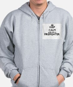 Keep calm and kiss a Firefighter Zip Hoodie