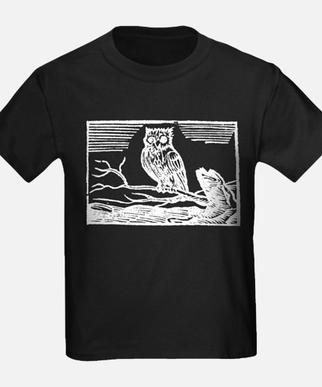Antique Woodcut Owl on Branch T-Shirt