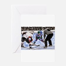 Ice Hockey Players and Referee Greeting Cards
