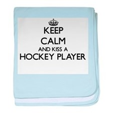 Keep calm and kiss a Hockey Player baby blanket