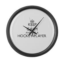 Keep calm and kiss a Hockey Playe Large Wall Clock
