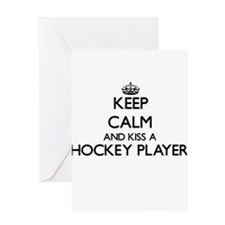 Keep calm and kiss a Hockey Player Greeting Cards