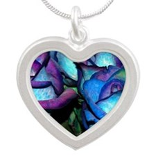 Blue & Purple Roses Silver Heart Necklace