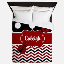 Red Black Chevron Ladybug Personalized Queen Duvet