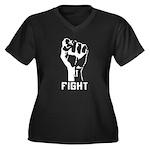 Fight The Power Women's Plus Size V-Neck Dark T-Sh