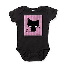 Meh Cat on Pink Stripes Baby Bodysuit