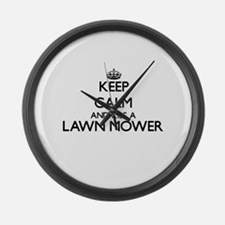 Keep calm and kiss a Lawn Mower Large Wall Clock