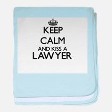 Keep calm and kiss a Lawyer baby blanket