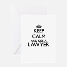 Keep calm and kiss a Lawyer Greeting Cards