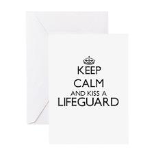 Keep calm and kiss a Lifeguard Greeting Cards