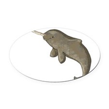 Narwhal Oval Car Magnet