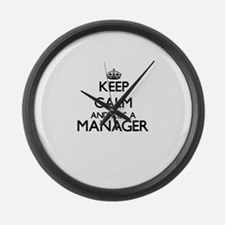 Keep calm and kiss a Manager Large Wall Clock