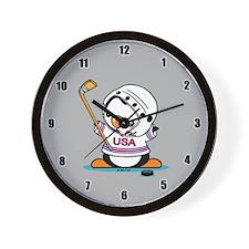 Ice Hockey Penguin Wall Clock
