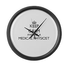 Keep calm and kiss a Medical Phys Large Wall Clock