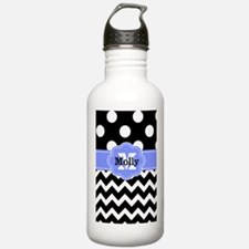 Black Purple Dots Chevron Personalized Water Bottl