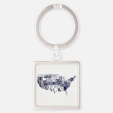 america license Square Keychain