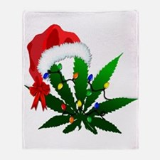 Weed Holiday Tree Throw Blanket