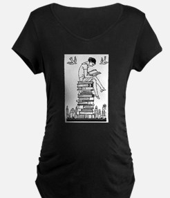 Reading Girl atop books Maternity T-Shirt