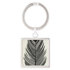 Black & White Feather Square Keychain